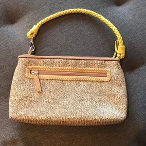 Loft Tan Ratan W/ Yellow Trim Handbag EUC